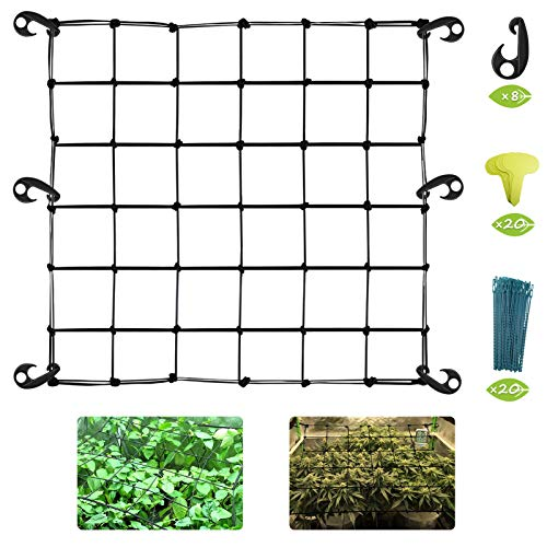 Grow Tent Net Flexible Trellis Netting 3x3ft Elastic Trellis Netting for Grow Tents Hydroponics Grow Tent Plant Top Support Trellis Netting with 8 Hooks,20 Planting Labels and 20 Plant Support Ties