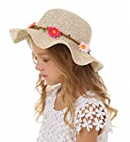 Bienvenu Sun Straw Hat Kids Girls Large Wide Brim Travel Beach Beanie Cap,Khaki