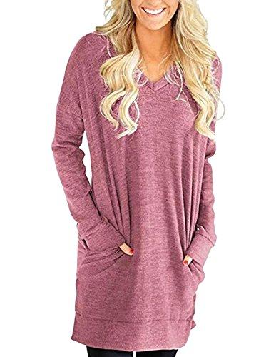 (Buauty Green V Neck Tunic Tops Loose T Shirt Dresses Pocket Sweatshirt for Women Long Sleeve 2XL)