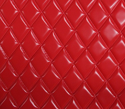 (Vinyl Patent Quilted Foam Matte Dull RED Fabric 2