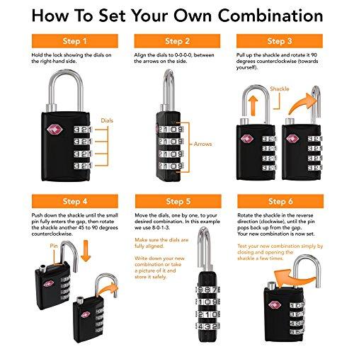 TSA Luggage Locks (2 Pack) - 4 Digit Combination Steel Padlocks - Approved Travel Lock for Suitcases & Baggage - Black