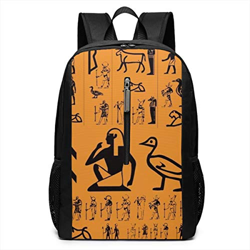 Ancient Egypt Clipart Orange Daypack With Padded Straps, Travel And Sport Backpack Rucksack Large Capacity College School Bookbag Multipurpose Anti-Theft for Boys Girls ()