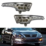 Nissan Altima Accessory Lighting - iJDMTOY LED Daytime Running Lights Assembly Compatible With 2013-2015 Nissan Altima Sedan, Exact Fit High Power Assy Powered By (10) Xenon White LED as DRL & (10) Amber Yellow LED as Turn Signals