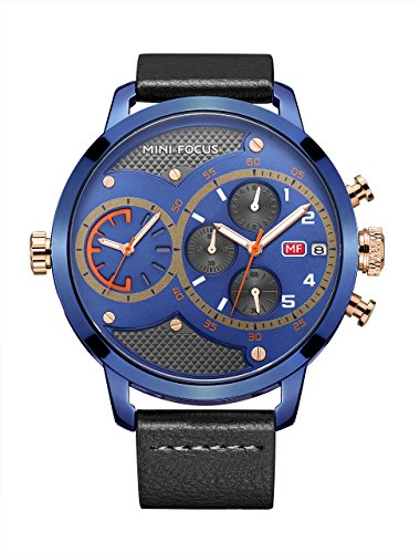 Oversized Face Men'S Unique Blue Dial Wrist Watches Double Movement Watch Multifunction Three Sub Dials With Black Genuine Leather Band Watch Date Window (Band Zone Face Black Metal)