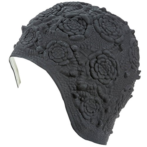 Latex Swim Cap - Women Stylish Swimming Cap Great for Ladies, Perfect to Keep Hair Dry - Suitable for Long Hair - Embossed Flower - Black
