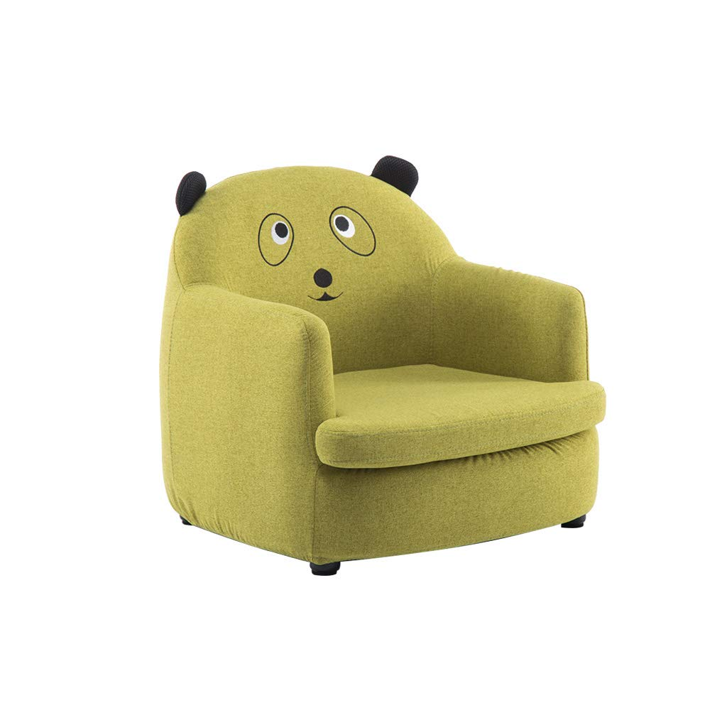 Cute Animal Single Seater Kids Sofa Set Niños Sofá Asiento Juego Silla Asiento Reposapiés Lino Natural Extraíble Lavable (Verde)