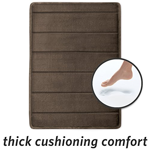 Walnut Bath - Microdry 17x24 in Walnut SoftLoft Memory Foam Bath Mat Skid Resistant, 17 X 24