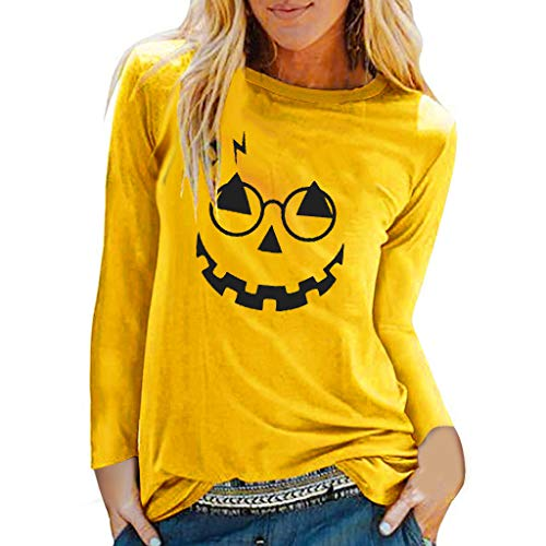 〓COOlCCI〓T Shirts for Women,Pumpkin Funny Print Long Sleeve Top Tee Graphic Casual Blouse Tees Pullover Sweatshirt – The Super Cheap