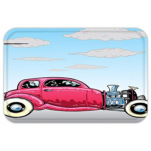 Hot Rod Costume Instructions (Kisscase Custom Door MatCarDecor Collection Old Classic American Hot Rod Car with Large EngineModified for Linear Speed Graphic Work Blue Pink)