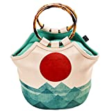 Art of Lunch Large Neoprene Lunch Bag Purse by 11'' X 15'' X 6'' Reusable Insulated Lunch Bag with Inside Pocket - Design by Budi Kwan (Indonesia) - the Ocean, the Sea, the Wave