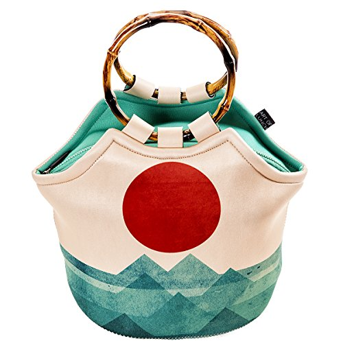 "Large Neoprene Lunch Bag Purse by ART OF LUNCH - 11"" X 15"" X 6"" Reusable Insulated Lunch Bag with Inside Pocket - Design by Budi Kwan (Indonesia) - the Ocean, the Sea, the Wave"
