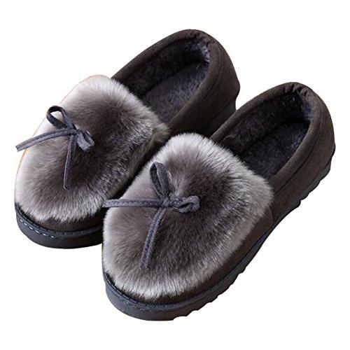 confortable Femmes femmes Chausson Chaussons Peluche d'intérieur Gris Hommes Pantoufles et Pantoufles pantoufles W08SwW6q
