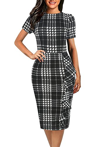 oxiuly Women's Casual Plaid Short Sleeve Round Neck Stretchy OL Work Club Party Cocktail Pencil Dress OX055 (XL, Black Plaid)
