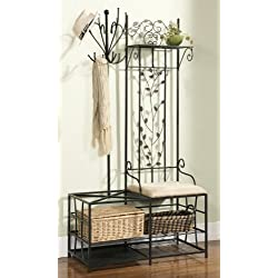 King's Brand Black Finish Metal Hallway Storage Bench with Coat Rack & Umbrella Holder