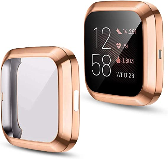 JZK Scratch-Resistant Flexible Lightweight Plated TPU Fullbody All-Around Protective Case for Fitbit Versa 2 SmartWatch Accessories,Pink+Rose Gold+Clear 3 Pack Fitbit Versa 2 Screen Protector