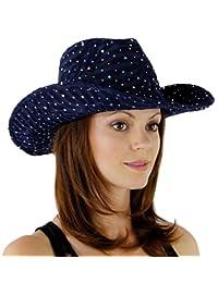 Glitter Sequin Trim Cowboy Hat, Navy Blue