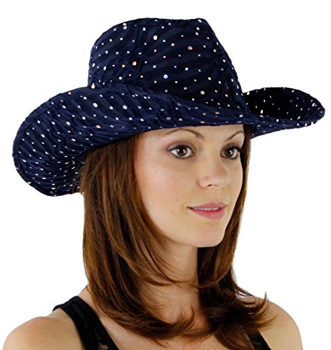 Glitter Sequin Trim Cowboy Hat, Navy Blue
