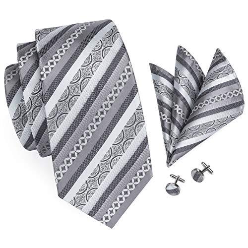 Hi-Tie Men Silver Gray Stripes Tie Handkerchief Necktie with Cufflinks and Pocket Square Tie Set