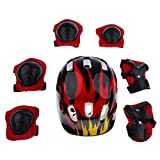 MagiDeal 7 Pieces Kids Children Multicolored Roller Skating Scooter Bicycle Helmet Knee Elbow Wrist Pad Guard Protective Gears Set S M - Red Flame, S