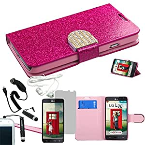 [ARENA] PINK GLITTER BLING GEM LOCK FLIP COVER FITTED WALLET STAND CASE for LG L70 DUAL D325 + FREE ARENA ACCESSORY KIT