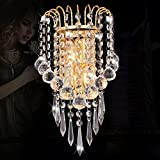 Gold Luxury Modern Crystal hanging Bedroom Bedsides wall lights Cabinet Creative Mirror Front Living Room Crystal Wall Sconces (Gold)