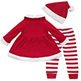 iiniim Baby Girls Christmas Dress Top + Striped Pants + Hat 3Pcs Xmas Outfit Set