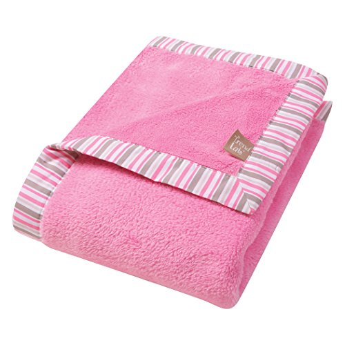 (Trend Lab Lily Stripe Coral Fleece Baby Blanket, Pink)