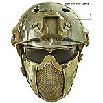 QZY Casque de Protection Airsoft Paintball ETS Casques Tactiques avec Masque de Maille en Acier Set de Jeux CS 8… 7