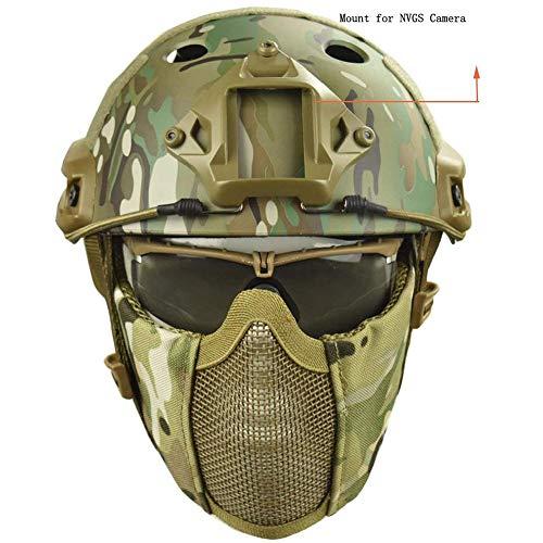 QZY Casque de Protection Airsoft Paintball ETS Casques Tactiques avec Masque de Maille en Acier Set de Jeux CS 8… 2