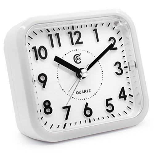 jcc silent sweep second hand analog bedside snooze battery operated quartz alarm clock white. Black Bedroom Furniture Sets. Home Design Ideas