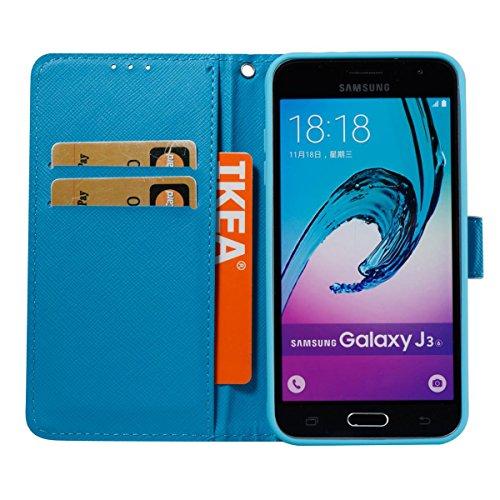 Funda Samsung Galaxy J310, Beige Funda Libro de Cuero Flip Cover con TPU Case Interna Para Samsung Galaxy J310, Wallet Case con Soporte Plegable, Ranuras para Tarjetas y Billete Bianco viola