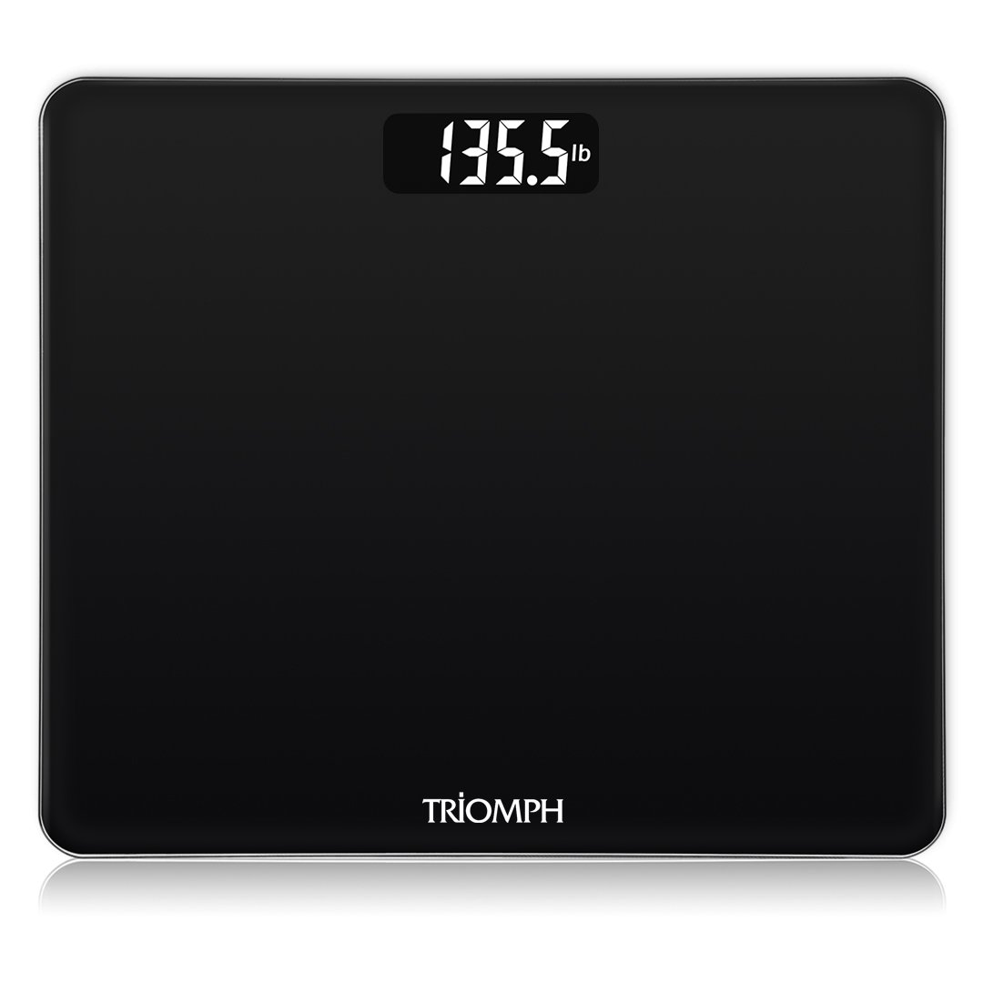 Triomph Precision Basic Digital Body Weight Scale Bathroom Scale with Step-On Technology, 6mm Tempered Glass, 400 Pounds Weight Loss Monitor, Black