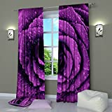 Violet Purple Curtains by Factory4me Violet rose. Window Curtain Set of 2 Panels Each W52 x L96 Total W104 x L96 inches Drapes for Living Room Bedroom Kitchen