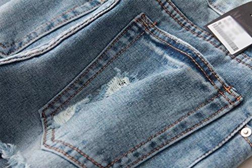 Blu Wanyang Sottili Lunghi Donna Jeans Chiaro Sexy Leggings Denim Matita Pantaloni Stretch Strappato z8zUP1