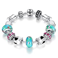 "BISAER Murano Glass Beads Charm Bracelet Enameled Heart Silver Plated ""The World of Love"" Charm Bracelet European Style Snake Chain Bracelet Gifts for Teen Girls Christmas Gift 18cm (7"")/20cm (7.8"")"