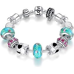 "Bamoer ""The World of Love"" Purple Murano Glass Beads Heart Charm Beaded Silver Plated Charm Bracelet Gifts for Teen Girls Size 18cm/20cm"