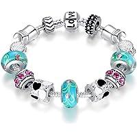 """BISAER Murano Glass Beads Charm Bracelet Enameled Heart Silver Plated """"The World of Love"""" Charm Bracelet European Style Snake Chain Bracelet Gifts for Teen Girls Christmas Gift 18cm (7"""")/20cm (7.8"""")"""