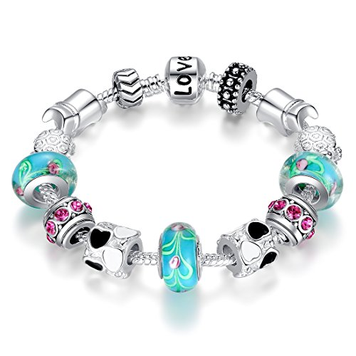 Bamoer Teen Bracelet European Style Pink or Blue Murano Glass Bead Black Heart Love Butterfly Dangle Charm Bracelets Jewelry Gift for Women Girls 7 to 7.8 inch (Turtle 7.1inch)]()