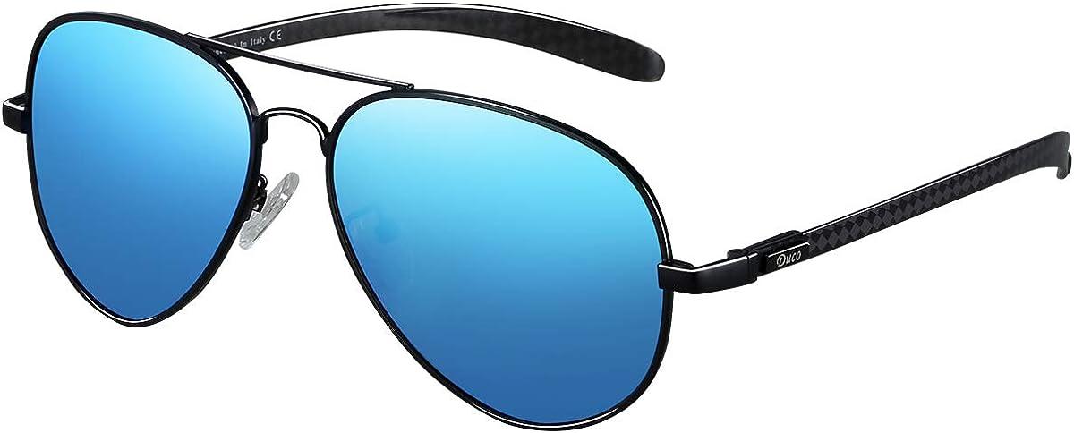 Duco Lunettes d'aviateur, lunettes de soleil pour hommes en fibre de carbone, 100% anti UV 3025S Bleu