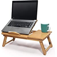 MicroHill Bamboo Laptop Desk with Adjustable Tilting Top, Adjustable Folding Legs, Made from Natural Bamboo…