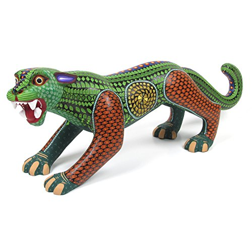 Green Jaguar Oaxaca Animal Alebrije Wood Carving Handcrafted Mexican Folk Art (Mexican Folk Art)