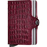 Secrid Twin Wallet, Nile Red, Leather with RFID Protection, Holds up to 16 Cards