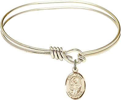 Clare of Assisi charm. 7 inch Oval Eye Hook Bangle Bracelet with a St