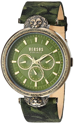 Versus by Versace Men's 'Victoria Harbour' Quartz Stainless Steel and Leather Casual Watch, Color Green (Model: VSP330117)