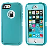 iPhone SE Case, Lookly [Armorbox Series] Heavy Duty Rugged Scratch Resistant Shockproof Full Body Protective with Built-in Screen Protector Case for Apple iPhone 5S/SE (Mint Green)
