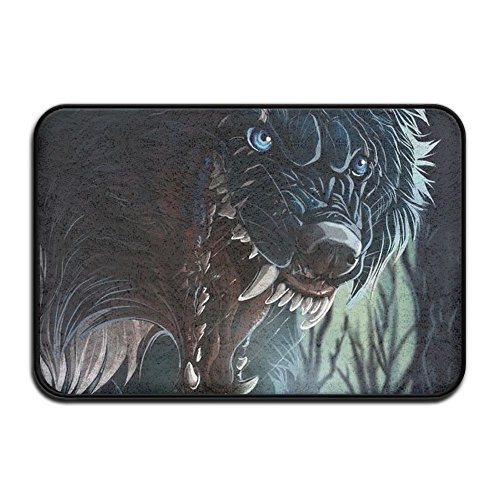 Wash Velvet Curtains - HOMESTORES Non Slip Coral Velvet Bathmat Absorbent Bath Rugs 17x24 Inch Memory Foam Bath Mats With Anti-Skid Bottom - Howling Wolf Dark Jungles Design
