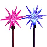 Star Christmas Lights Outdoor Tree Ornaments Decoration Solar Fairy Color Changing 3D LED Stakes for Thanksgiving Wedding Birthday Party Decor Yard Pathway Garden Walkway Path Landscape Lawn Fixture