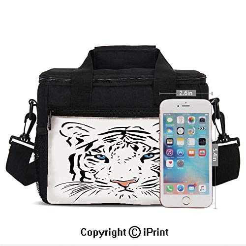Insulated Lunch Bags For School With Bottle Holder Language of Love Musical Note Inspiration on Sheet with Rose Hearts Kids Lunch Box Snacks Tote Lunch Containers 3D Print White Black and Pink ()