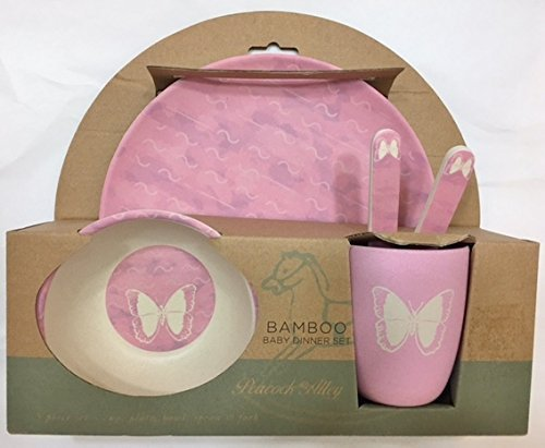 Peacock Alley Bamboo Dinner Set - Pink Butterfly