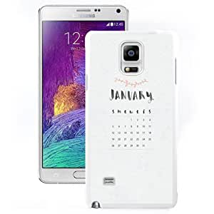 DIY and Fashionable Cell Phone Case Design with January 2014 Calendar Galaxy Note 4 Wallpaper in White